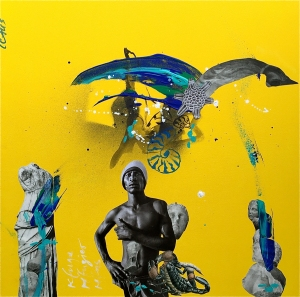 """refuge-refugier-refus"", Acryl/Collage, 60x60x3,5 cm,"
