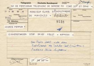 Telegram von Nina Auproux, der Tochter Carl Einsteins, 1966.